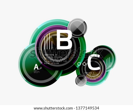 Colorful glossy circles background. Vector #1377149534