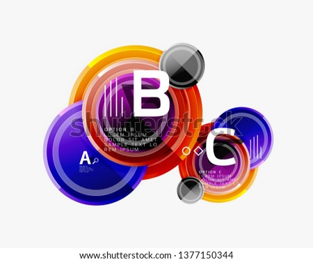 Colorful glossy circles background. Vector #1377150344