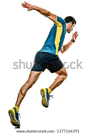 one caucasian handsome mature man running runner jogging jogger isolated on white background #1377166391