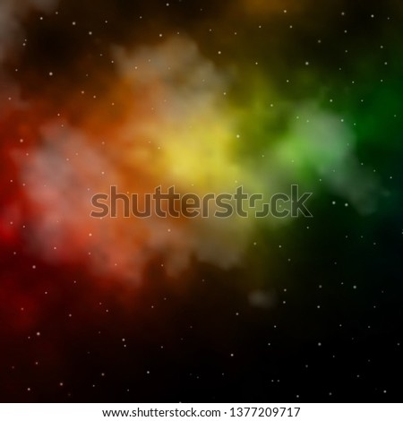 Dark Green, Yellow vector background with colorful stars. Shining colorful illustration with small and big stars. Pattern for websites, landing pages. #1377209717