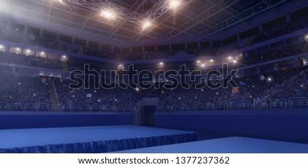 Professional gymnastic gym. Tribunes with fans. 3D illustration #1377237362