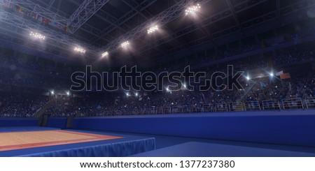 Professional gymnastic gym. Tribunes with fans. 3D illustration #1377237380