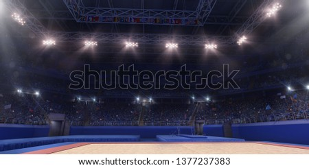 Professional gymnastic gym. Tribunes with fans. 3D illustration #1377237383