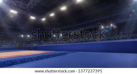 Professional gymnastic gym. Tribunes with fans. 3D illustration #1377237395