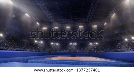 Professional gymnastic gym. Tribunes with fans. 3D illustration #1377237401