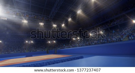 Professional gymnastic gym. Tribunes with fans. 3D illustration #1377237407