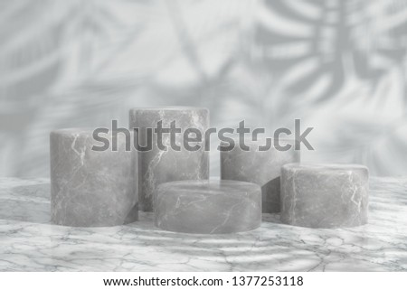 Cosmetic background for product presentation and fashion magazine. white marble podium on bright white wall scene with shadow of leaf. Minimal geometric shape. 3d rendering - illustration. #1377253118