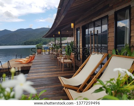 terrace at the riverside. house  in the  lake. boathouse at mountain float chiangmai, Thailand #1377259496