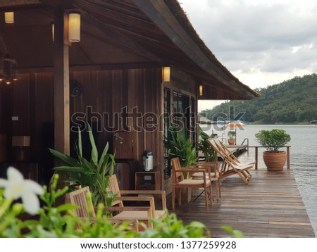 terrace at the riverside. house  in the  lake. boathouse at mountain float chiangmai, Thailand #1377259928
