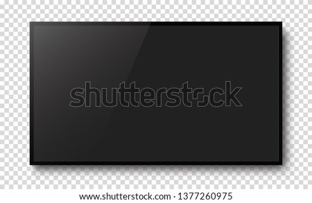 Realistic black television screen on a isolated baskgound. 3d blank TV led monitor - stock vector. #1377260975