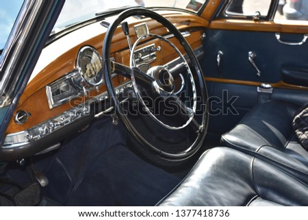WARSAW, POLAND - APRIL 07, 2019: Cabin of the Mercedes-Benz W186 300 (1951-1957). Annual sale of vintage cars in Global Expo. #1377418736