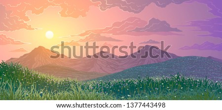 Vector illustration of spring landscape. Mountains, grass and meadows with flowers at sunset. #1377443498