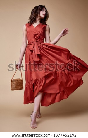 Pretty beautiful sexy elegance woman skin tan body fashion model glamor pose wear trend dress casual clothes party summer collection makeup hair style brunette success accessory jewelry studio. #1377452192