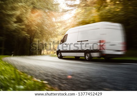 Delivery truck on a country road #1377452429
