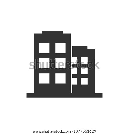 Office building sign icon in flat style. Apartment vector illustration on white isolated background. Architecture business concept. Royalty-Free Stock Photo #1377561629