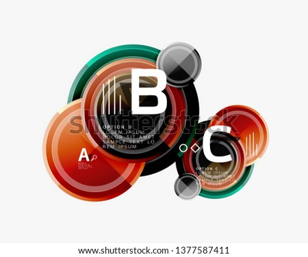 Colorful glossy circles background. Vector #1377587411