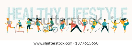 World Health Day. Vector tempale with leading an active healthy lifestyle. Design element. Royalty-Free Stock Photo #1377615650