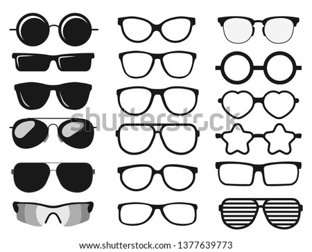 Sunglasses set, Summer eyewear sun protection sunglass. Fashion spectacles accessory. Plastic frame modern eyeglasses. Vacation item. Vector #1377639773