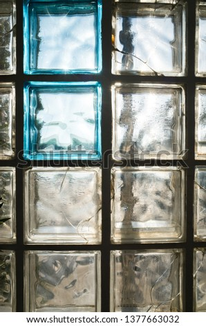 Glass block textured, cover of an external shower #1377663032