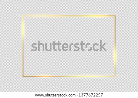 Gold frame square background. Golden frame line with light glow flare magic graphic effect design. #1377672257