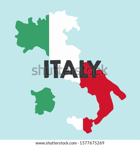Vector icon map of Italy. Map of Italy in the color of the Italian flag. Illustration of a map of Italy in flat minimalism style and text: Italy. #1377675269