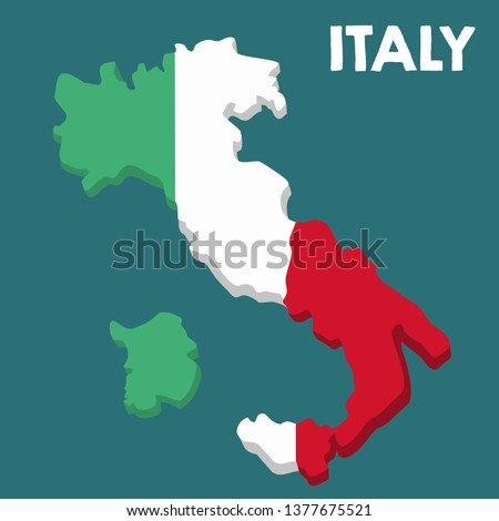Vector icon map of Italy. Map of Italy in the color of the Italian flag. Illustration of a isometric map of Italy in flat minimalism style and text: Italy. #1377675521
