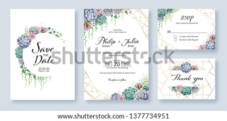 Greenery, succulent and branches Wedding Invitation card, save the date, thank you, rsvp template. Vector.  #1377734951