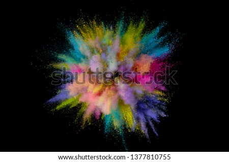 Colored powder explosion. Abstract closeup dust on backdrop. Colorful explode. Paint holi #1377810755