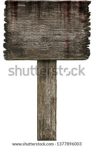 Bloody background scary old grunge wooden sign isolated on white background, concept of horror and Halloween