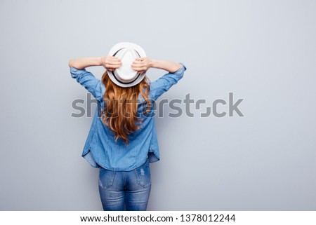 Close up back rear behind photo beautiful she her lady hands arms hold cap relaxing traveler observe wonderful landscape best city view wear specs casual jeans denim shirt isolated grey background #1378012244