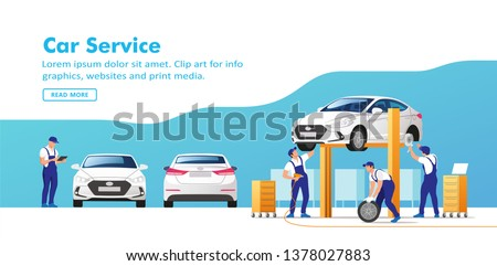 Car service and repair. Vector illustration. Royalty-Free Stock Photo #1378027883