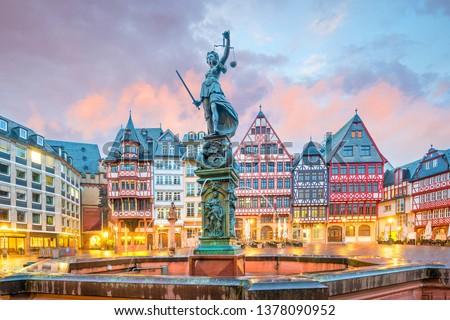 Old town square romerberg in Frankfurt, Germany at twilight #1378090952