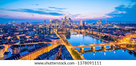View of Frankfurt city skyline in Germany at twilight from top view Royalty-Free Stock Photo #1378091111