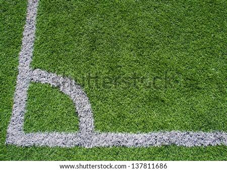 Football-Soccer green grass field, detail of the corner #137811686