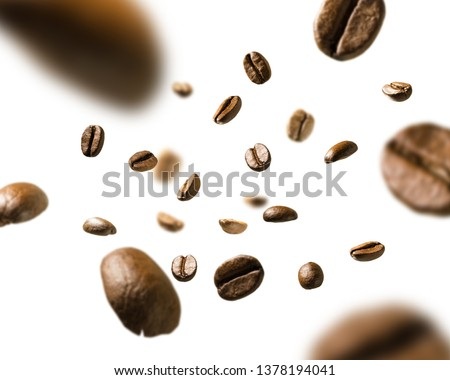 Coffee beans in flight on white background #1378194041