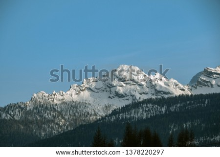 Beautiful Alps, Dolomites, Italy view of mountains in winter. Cortina d'Ampezzo #1378220297