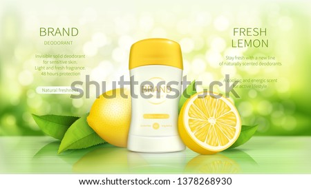 Dry stick deodorant with fresh fragrance vector realistic cosmetic promo poster. Antiperspirant in white plastic tube, green leaves and ripe lemons fruits on natural background with sunshine. Mock up Royalty-Free Stock Photo #1378268930