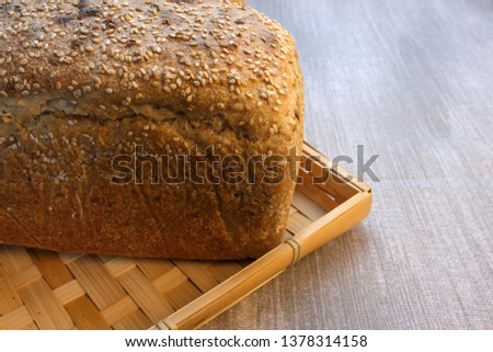 Homemade rye bread with the addition of seeds using traditional wholewheat flour technology #1378314158