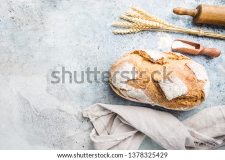 Fresh homemade crisp bread, top view. French bread. Bread at leaven. Unleavened bread #1378325429