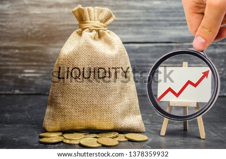 Money bag and arrow up. Increase liquidity and profitability of investments. High interest rates on deposits and securities. Profitable shares. Promising markets. Growth economy. Financial bubble #1378359932