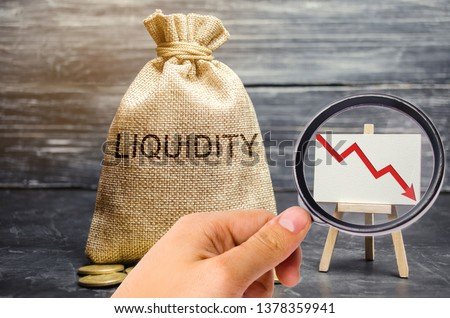 Falling liquidity and profitability of stocks and investments. Recession. Low attractiveness of short-term deposits. Financial crisis. The collapse of the securities market. Money bag, down arrow #1378359941