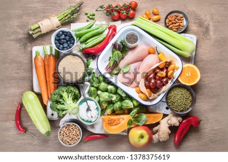 Balanced diet. Healthy eating, clean and detox  concept with fresh fruits,  vegetables, superfood and chicken meat. Top view #1378375619