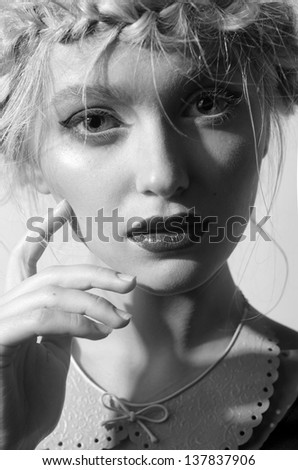 the girl for the board, for the magazine, with a fashionable make-up is beautiful Royalty-Free Stock Photo #137837906