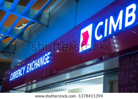 Sepang, Selangor/Malaysia - April 22 2019: CIMB's currency exchange outlet at Kuala Lumpur International Airport. CIMB is one of the biggest banking and financial conglomerate in Malaysia #1378411394