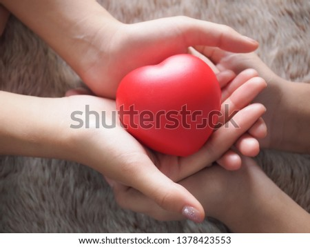 The couple's family's hands hold a red heart. health care concept #1378423553