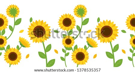 The Seamless pattern of sunflower and leaf on background.Beautiful seamless pattern with sunflowers on white background.