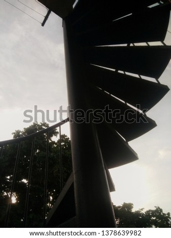 spiral stair case with cloud back ground stock photo -image #1378639982