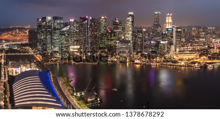 SINGAPORE - MARCH 4, 2019: Evening Skyline and Marina Bay of the Most Technology-Ready Nation #1378678292