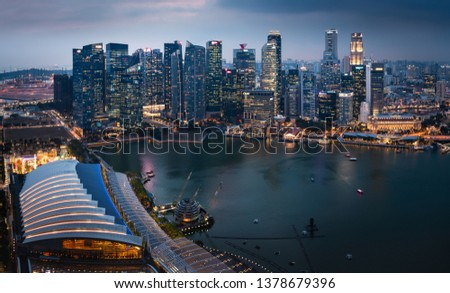 SINGAPORE - MARCH 4, 2019: Evening Skyline and Marina Bay of the Most Technology-Ready Nation #1378679396
