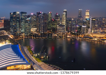 SINGAPORE - MARCH 4, 2019: Evening Skyline and Marina Bay of the Most Technology-Ready Nation #1378679399